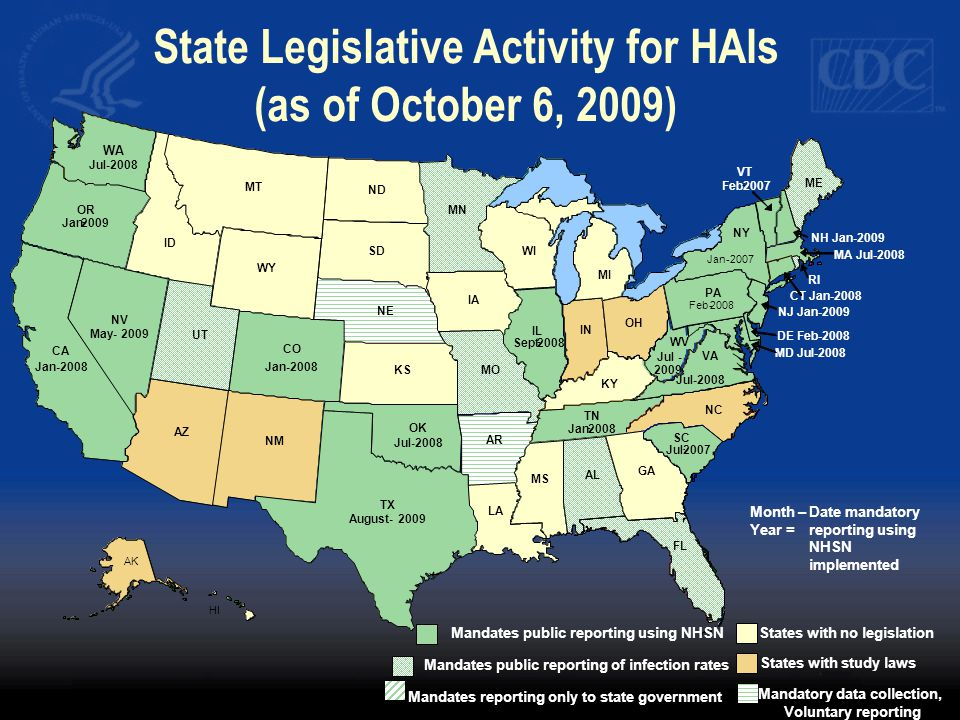 State Legislative Activity for HAIs (as of October 6, 2009)