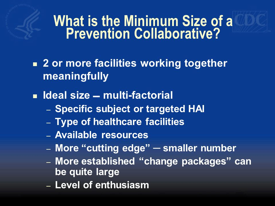 What is the Minimum Size of a Prevention Collaborative