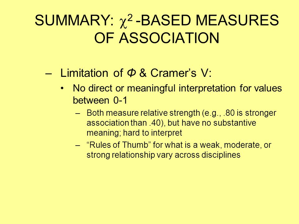 SUMMARY: 2 -BASED MEASURES OF ASSOCIATION