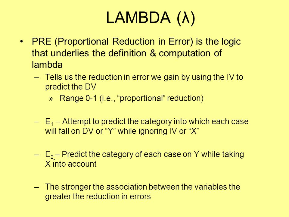 LAMBDA (λ) PRE (Proportional Reduction in Error) is the logic that underlies the definition & computation of lambda.