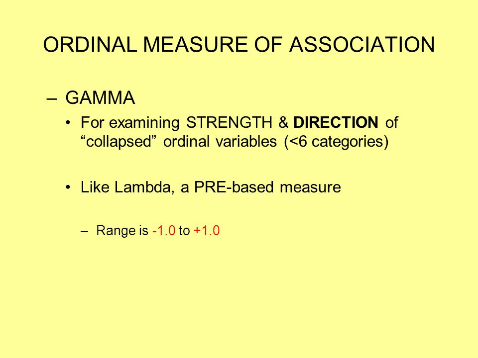 ORDINAL MEASURE OF ASSOCIATION