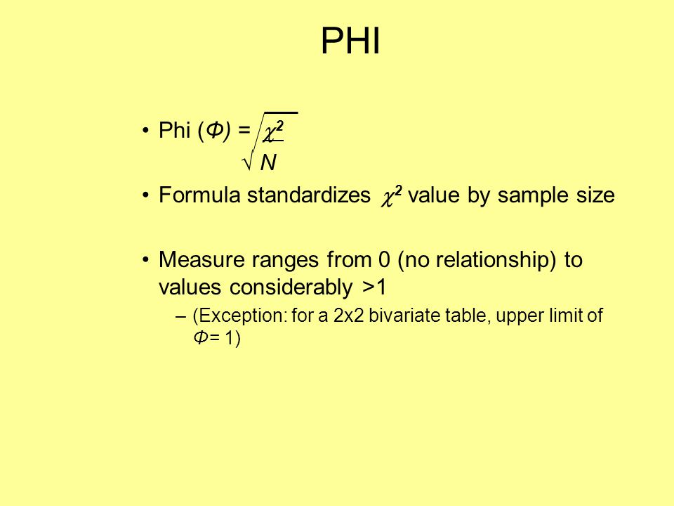 PHI Phi (Φ) = 2 √ N Formula standardizes 2 value by sample size