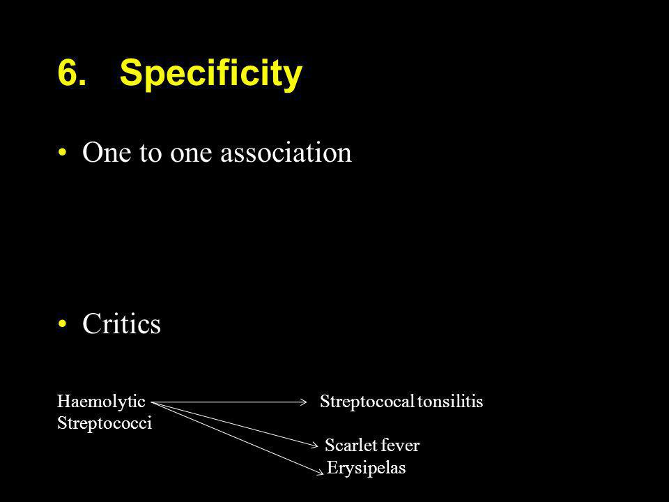 6. Specificity One to one association Critics