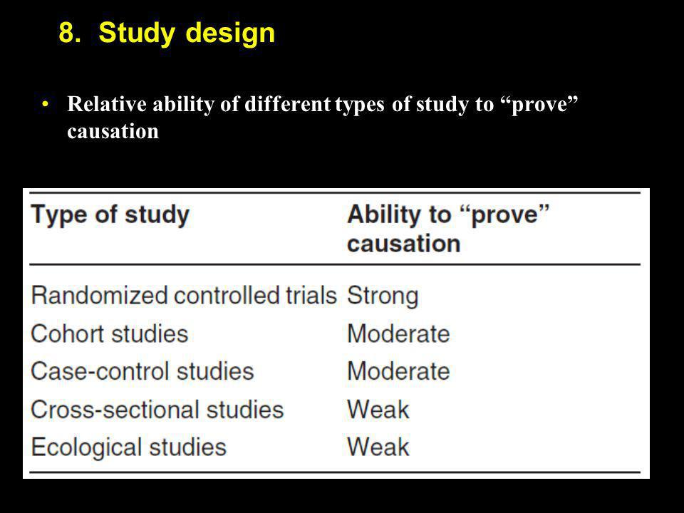 8. Study design Relative ability of different types of study to prove causation