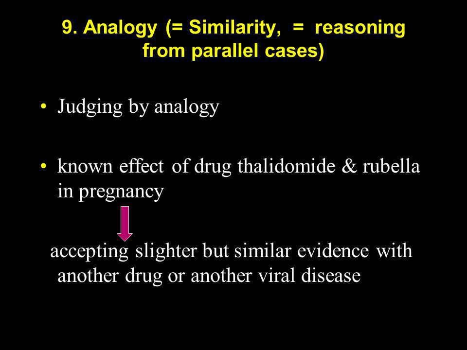 9. Analogy (= Similarity, = reasoning from parallel cases)
