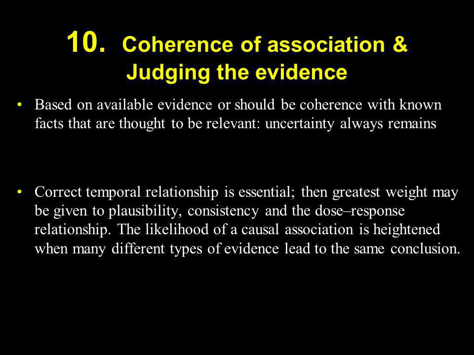 10. Coherence of association & Judging the evidence