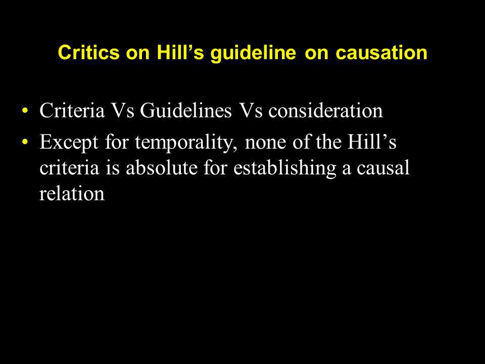 Critics on Hill's guideline on causation