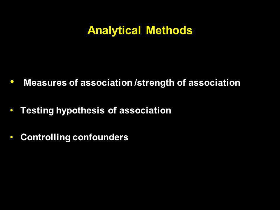 Measures of association /strength of association