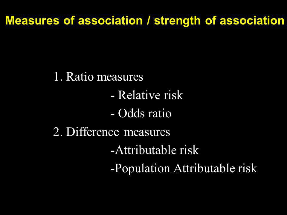 Measures of association / strength of association