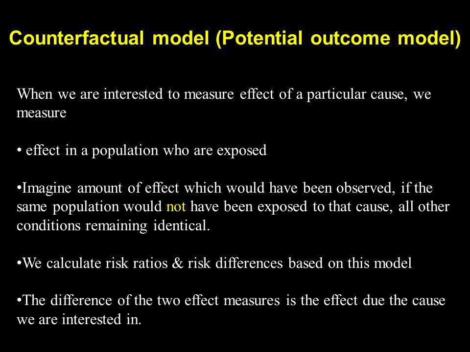 Counterfactual model (Potential outcome model)