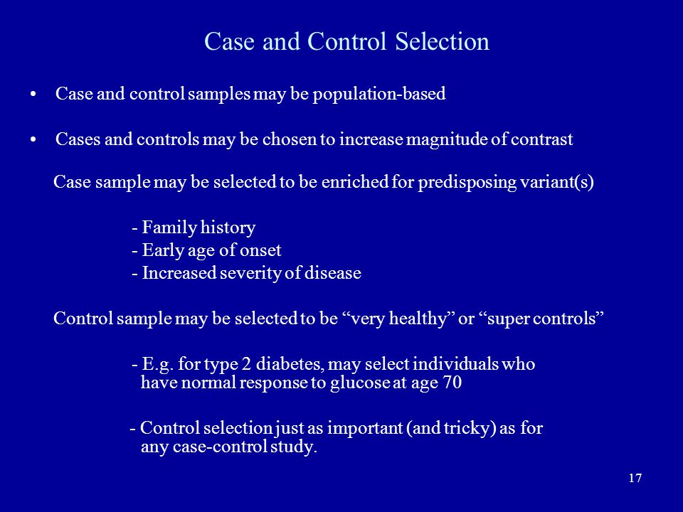 Case and Control Selection