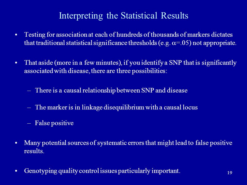 Interpreting the Statistical Results