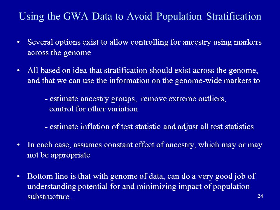 Using the GWA Data to Avoid Population Stratification