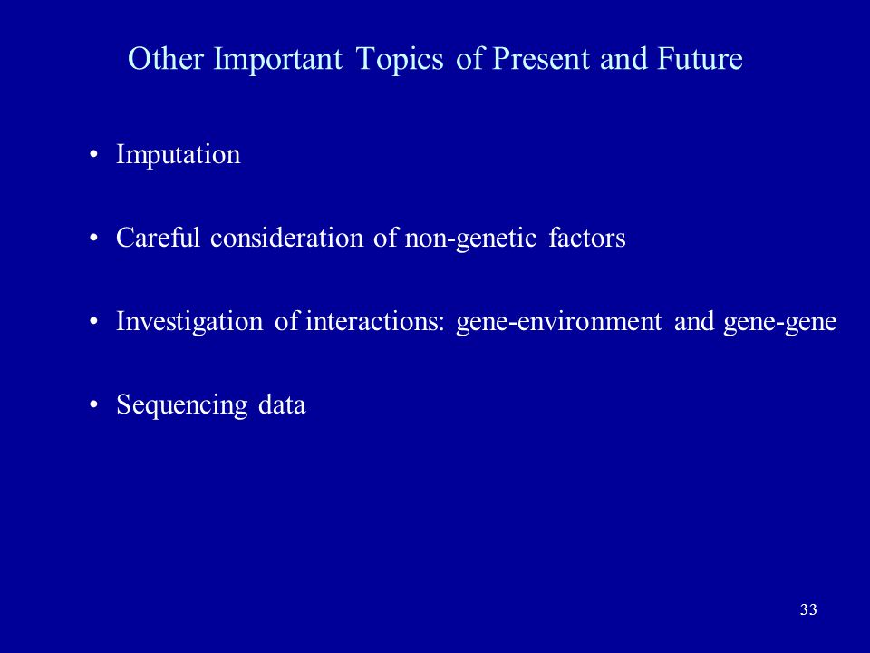 Other Important Topics of Present and Future