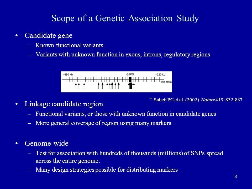 Scope of a Genetic Association Study