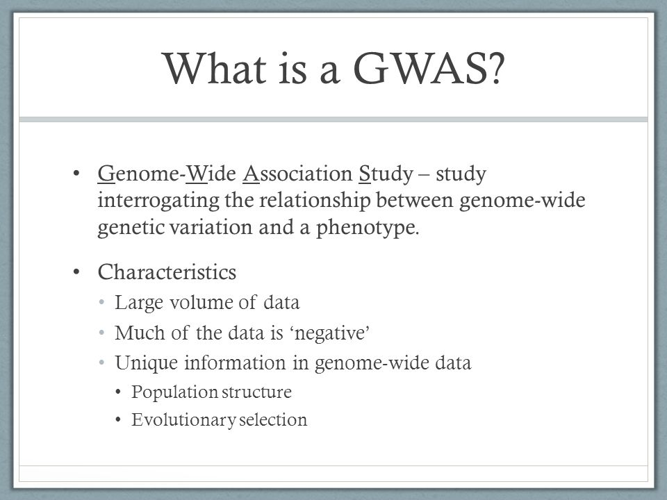 What is a GWAS Genome-Wide Association Study – study interrogating the relationship between genome-wide genetic variation and a phenotype.