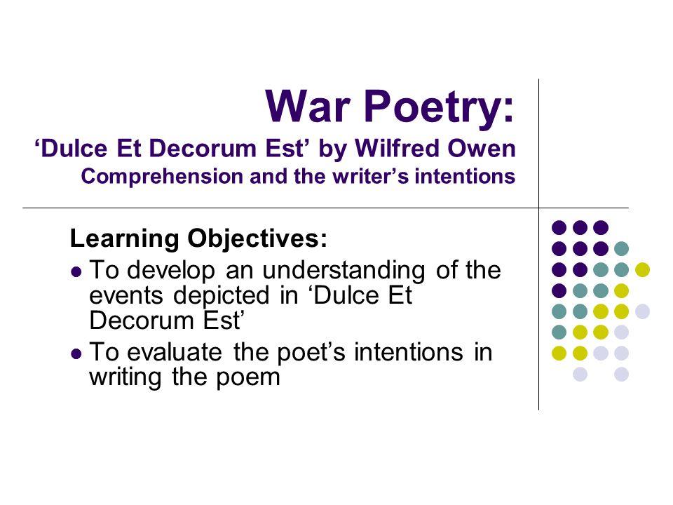explain main ideas poem dulce et decorum est wilfred owen