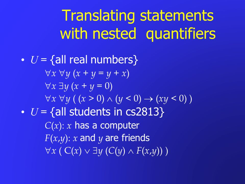 Translating statements with nested quantifiers