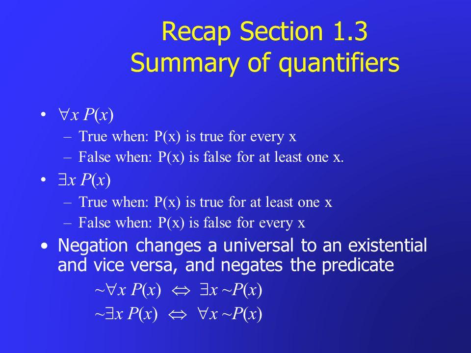 Recap Section 1.3 Summary of quantifiers