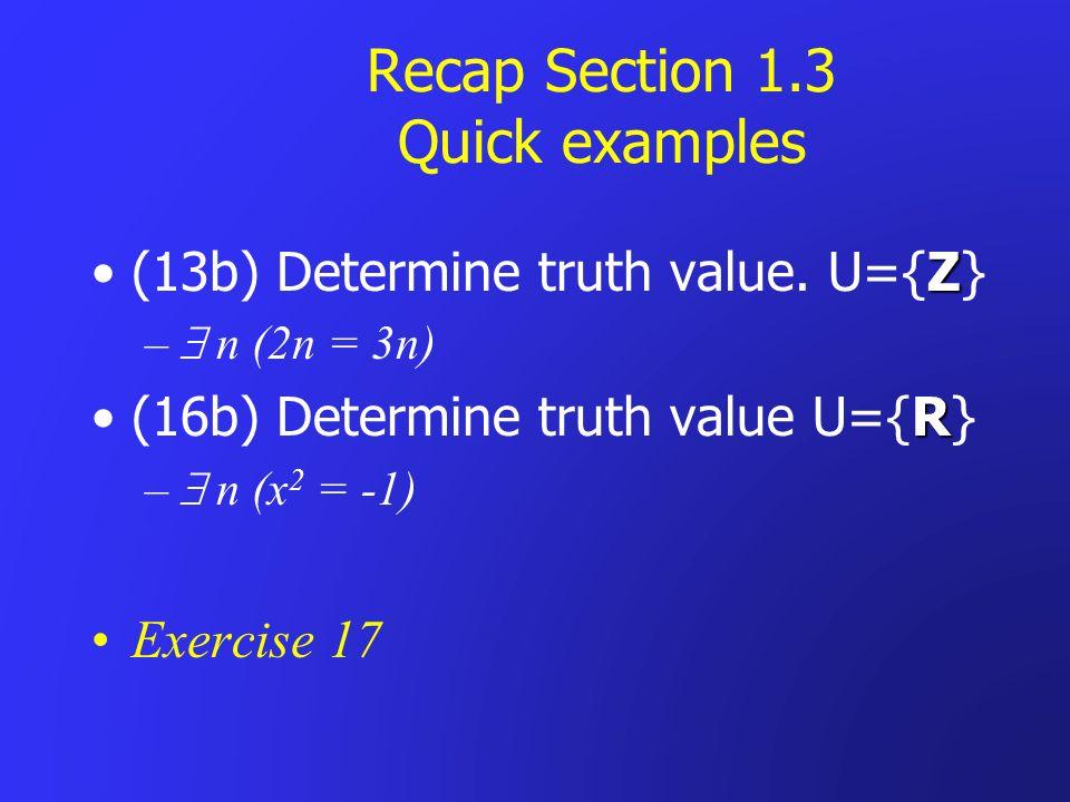 Recap Section 1.3 Quick examples