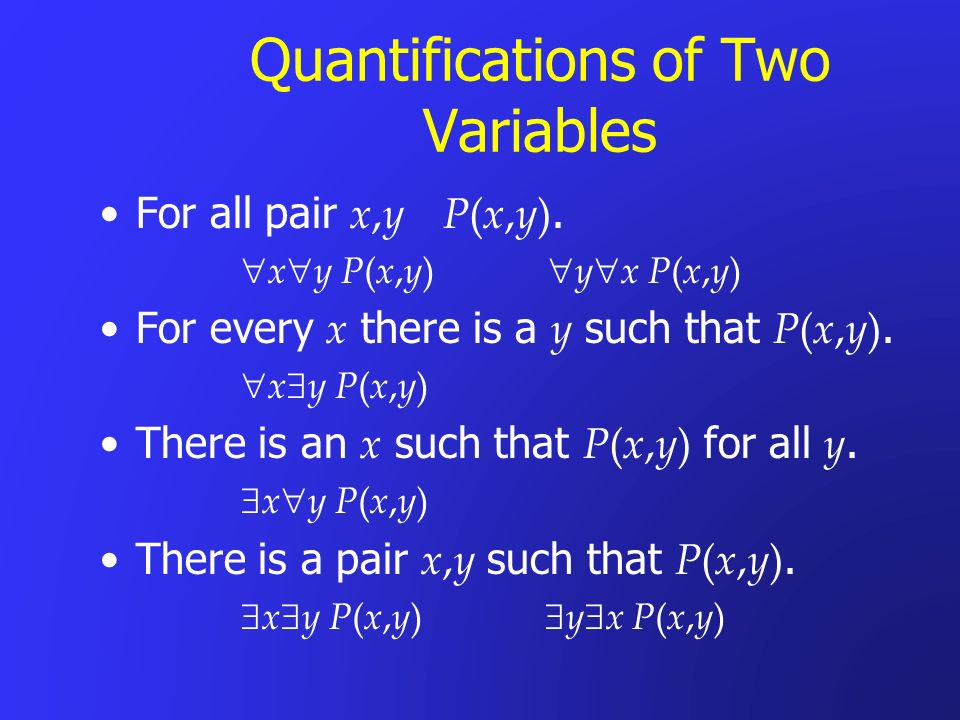 Quantifications of Two Variables