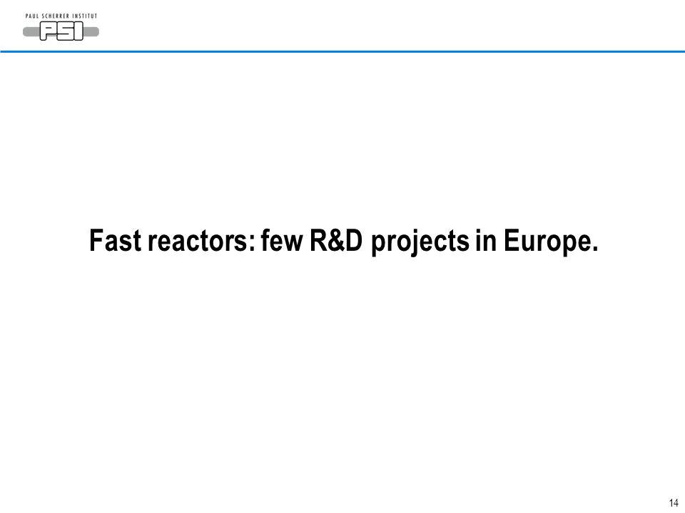 Fast reactors: few R&D projects in Europe.