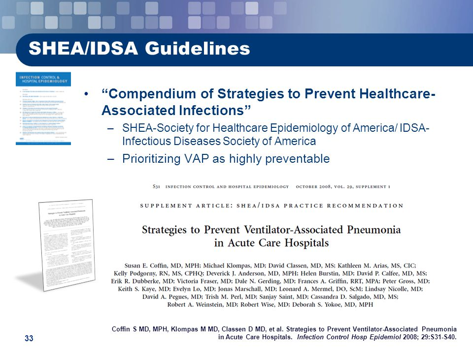 SHEA/IDSA Guidelines Compendium of Strategies to Prevent Healthcare-Associated Infections