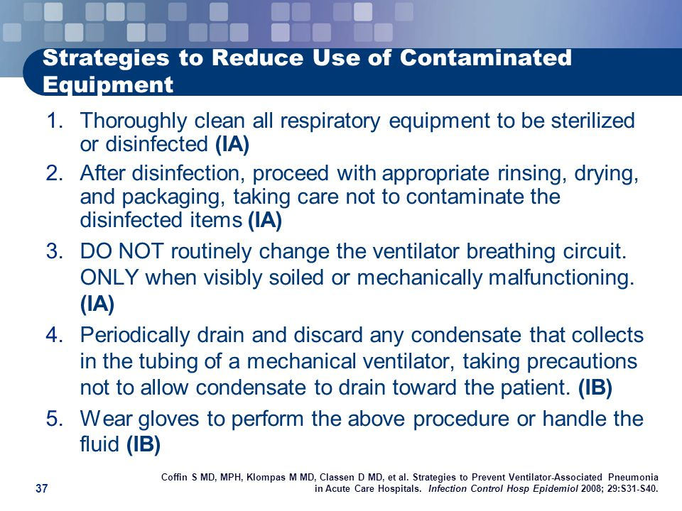 Strategies to Reduce Use of Contaminated Equipment