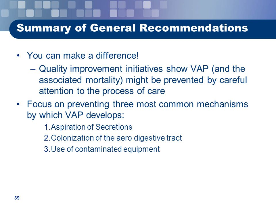 Summary of General Recommendations