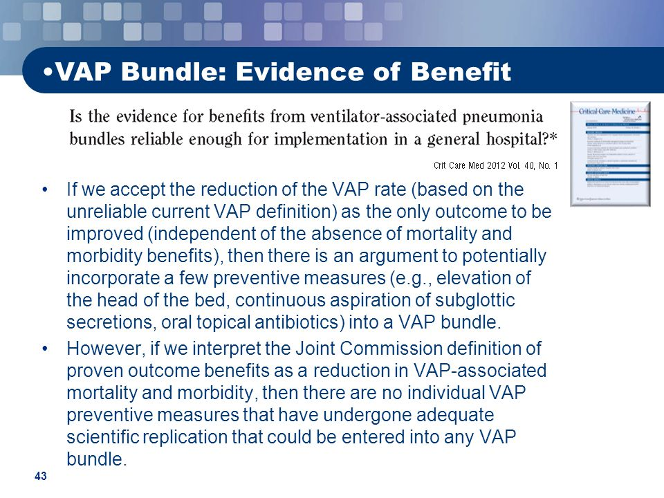 associated ventilator pneumonia prevention research Respect to evidence based guidelines for prevention of ventilator associated pneumonia a non experimental, descriptive, correlational and contextual two phase research design.