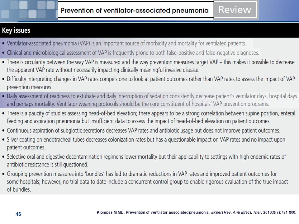 Klompas M MD, Prevention of ventilator-associated pneumonia.