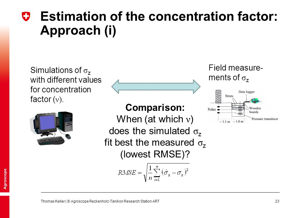 Estimation of the concentration factor: Approach (i)