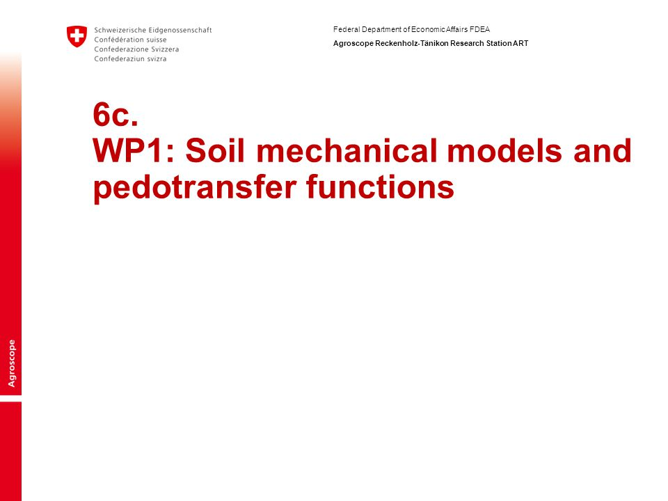 6c. WP1: Soil mechanical models and pedotransfer functions