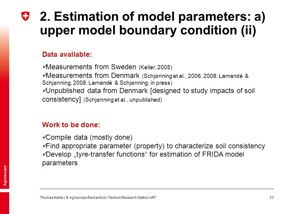2. Estimation of model parameters: a) upper model boundary condition (ii)