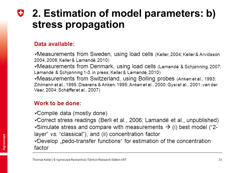 2. Estimation of model parameters: b) stress propagation