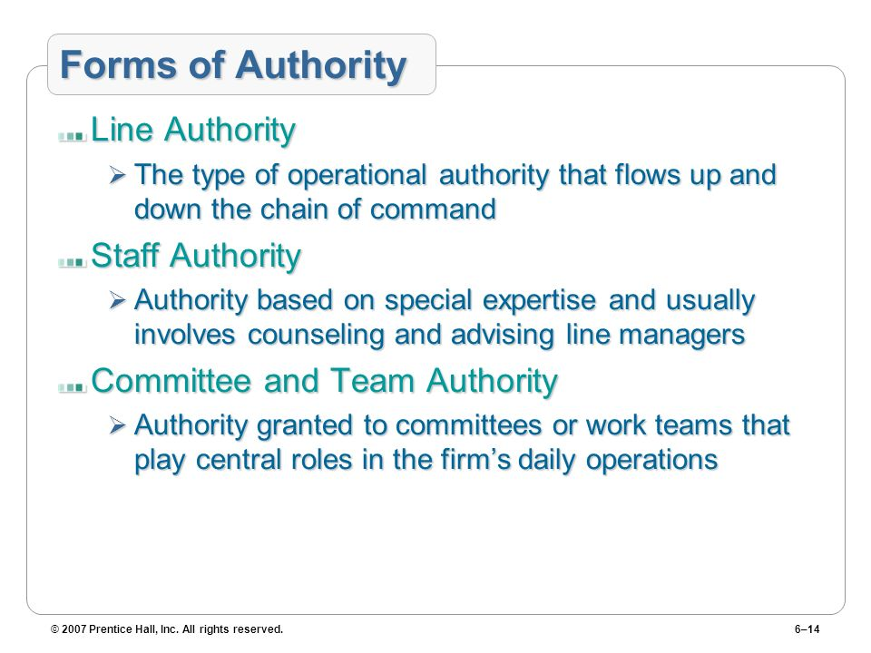 Forms of Authority Line Authority Staff Authority