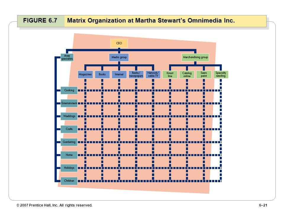 FIGURE 6.7 Matrix Organization at Martha Stewart's Omnimedia Inc.