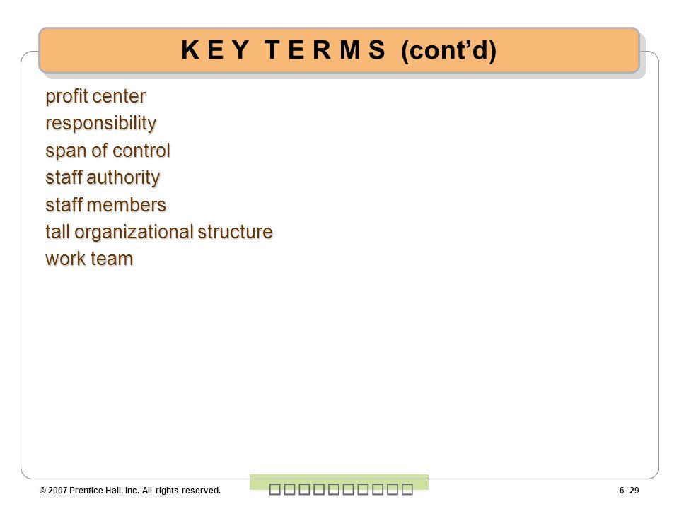 K E Y T E R M S (cont'd) profit center responsibility span of control