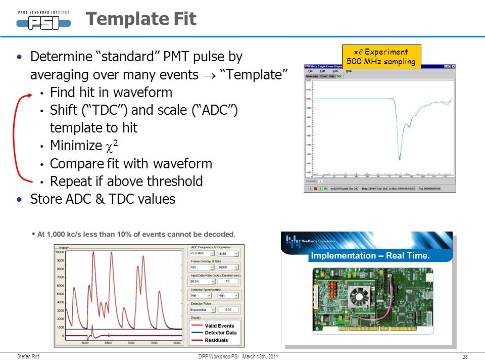 Template Fit pb Experiment. 500 MHz sampling. Determine standard PMT pulse by averaging over many events  Template