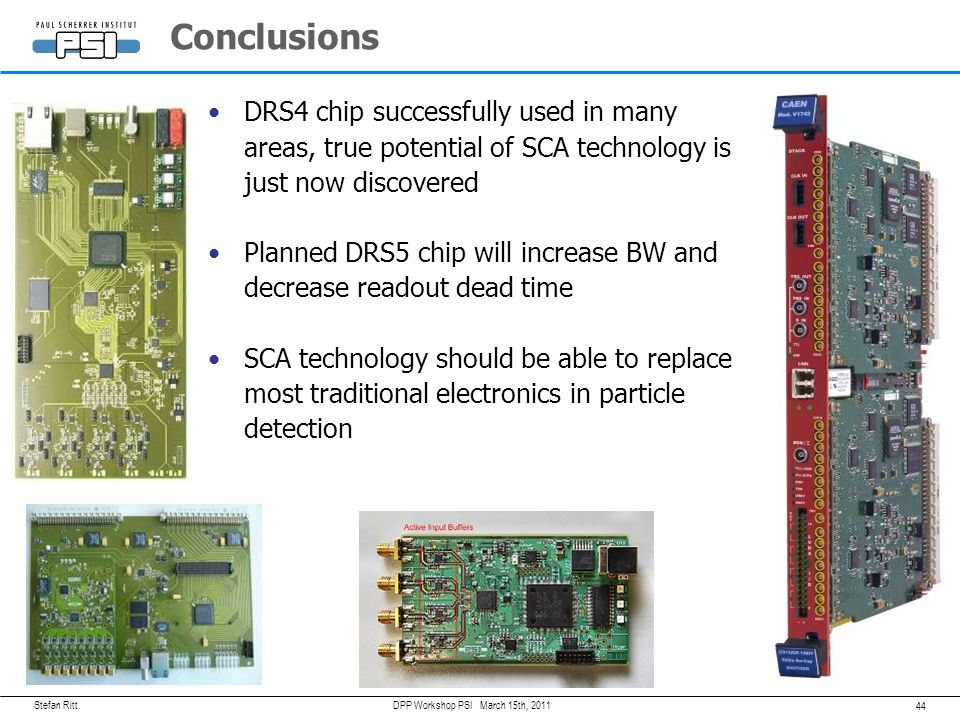 Conclusions DRS4 chip successfully used in many areas, true potential of SCA technology is just now discovered.