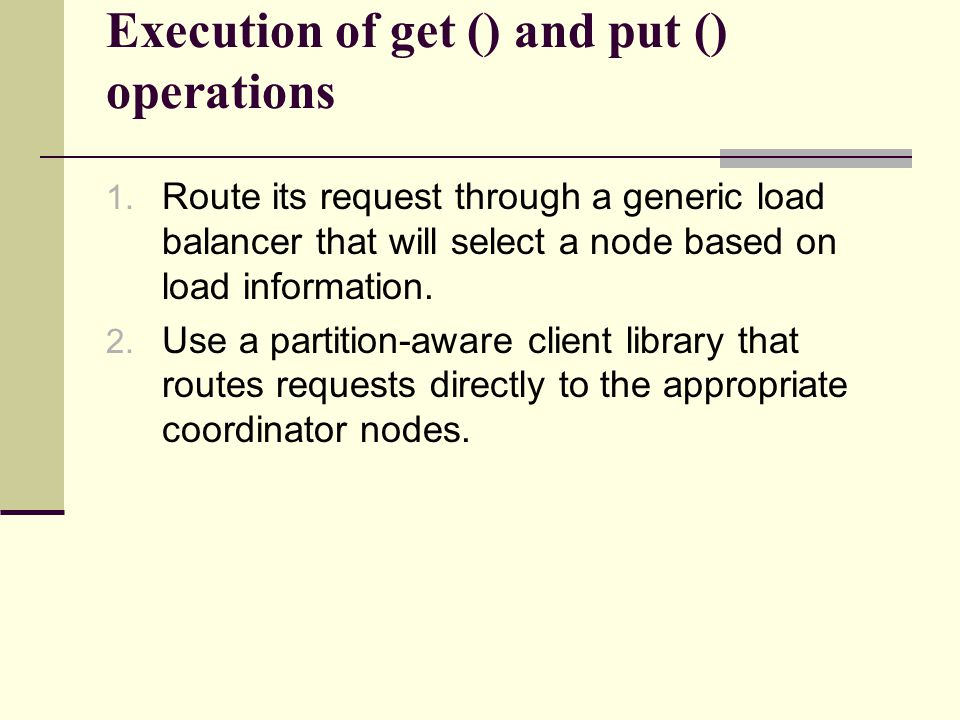 Execution of get () and put () operations