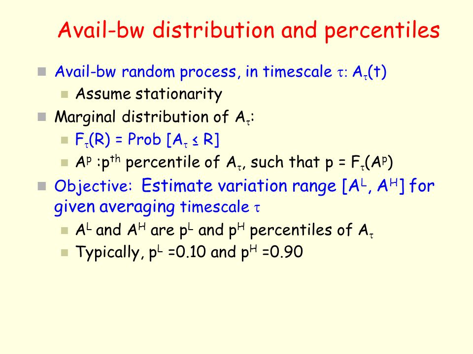 Avail-bw distribution and percentiles
