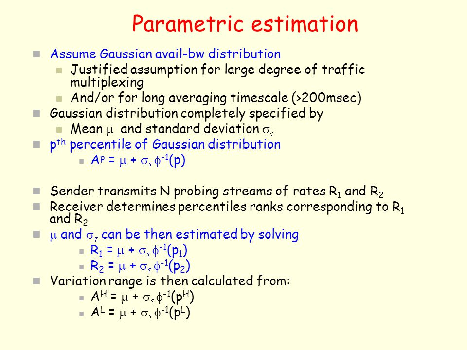 Parametric estimation