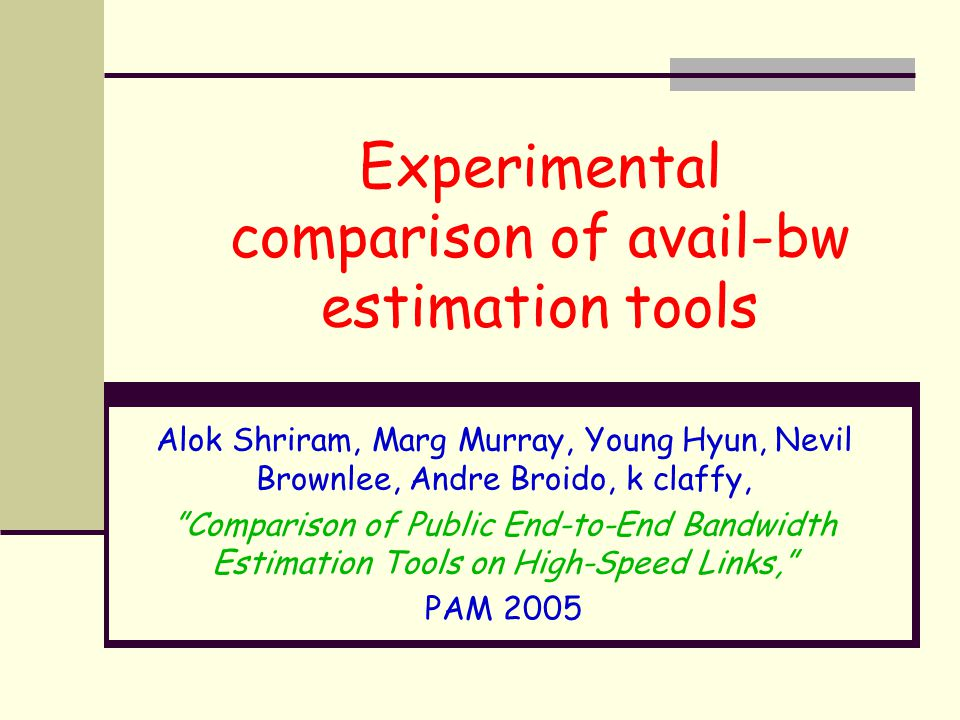 Experimental comparison of avail-bw estimation tools