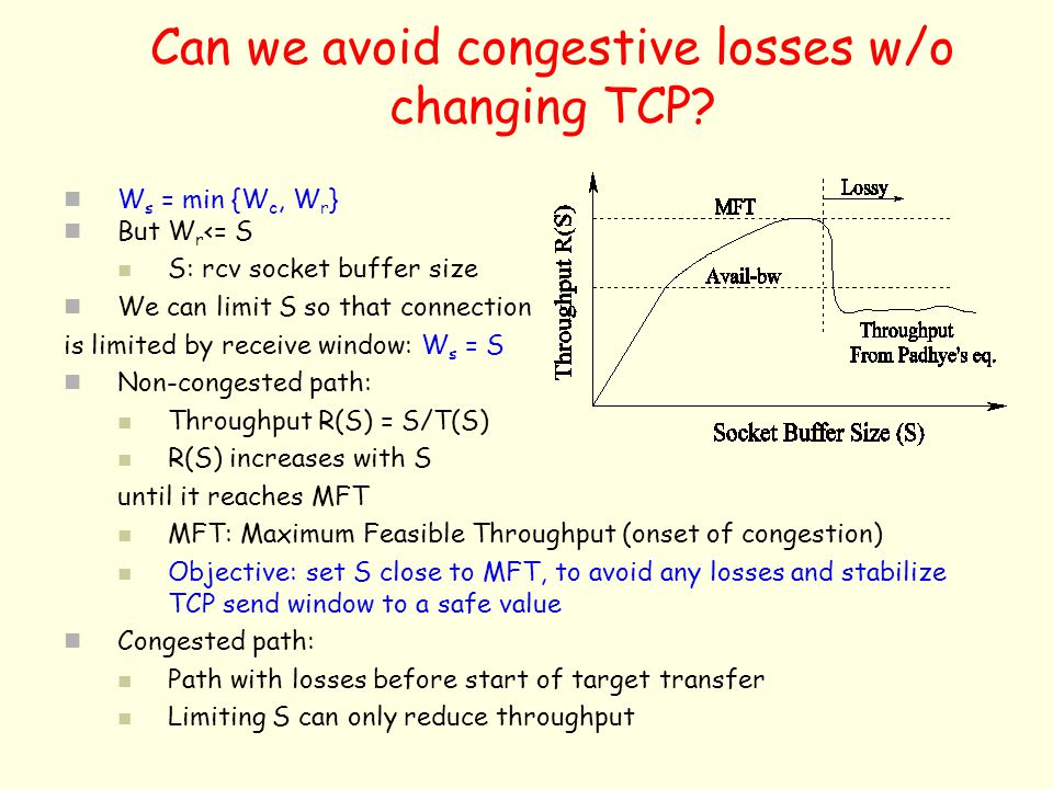 Can we avoid congestive losses w/o changing TCP