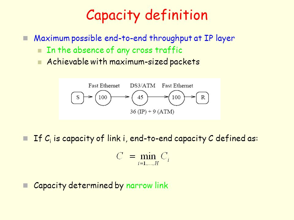 Capacity definition Maximum possible end-to-end throughput at IP layer