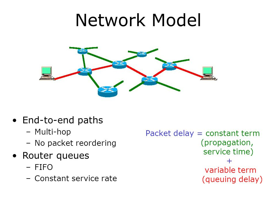 Network Model End-to-end paths Router queues Multi-hop