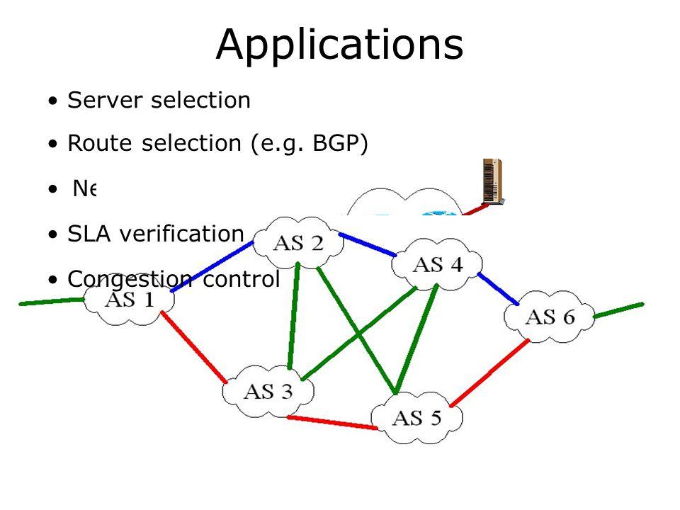 Applications Server selection Route selection (e.g. BGP)