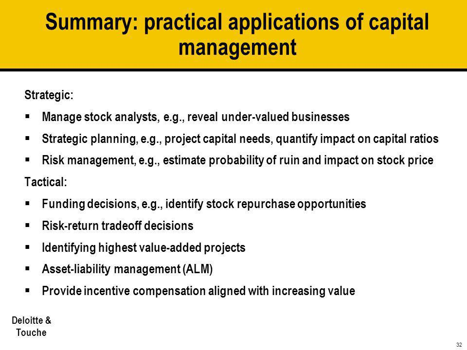 Summary: practical applications of capital management