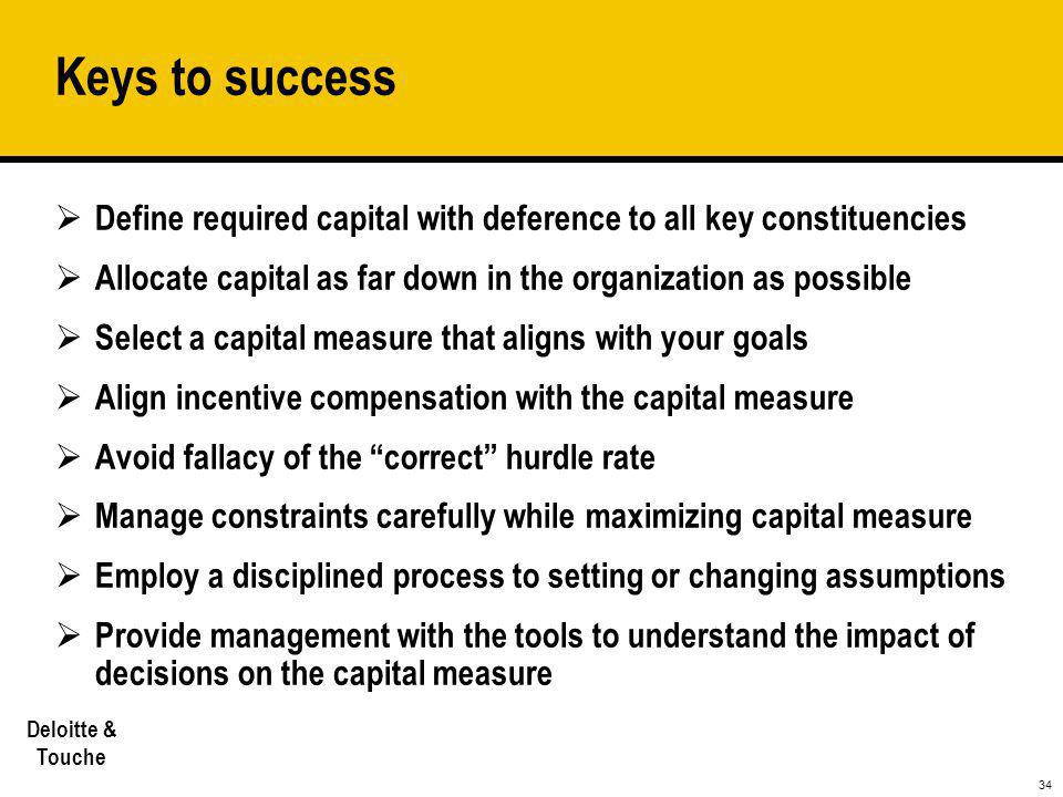 Keys to success Define required capital with deference to all key constituencies. Allocate capital as far down in the organization as possible.